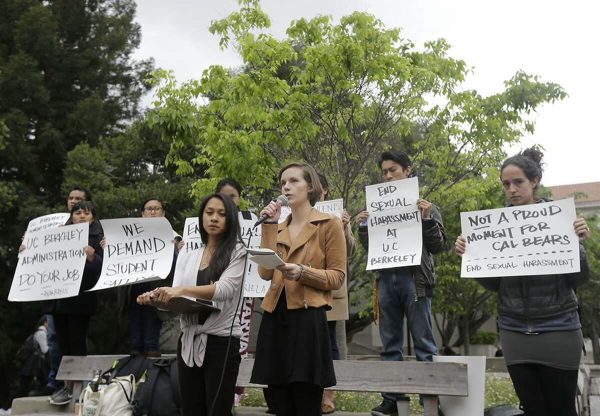 University of California graduate students Erin Bennett, center right, and Kathleen Gutierrez, speak at a news conference on the campus in Berkeley, Calif., Monday, April 11, 2016. Bennett and Gutierrez have filed a complaint regarding alleged sexual harassment by a University of California Berkeley professor. (AP Photo/Jeff Chiu)