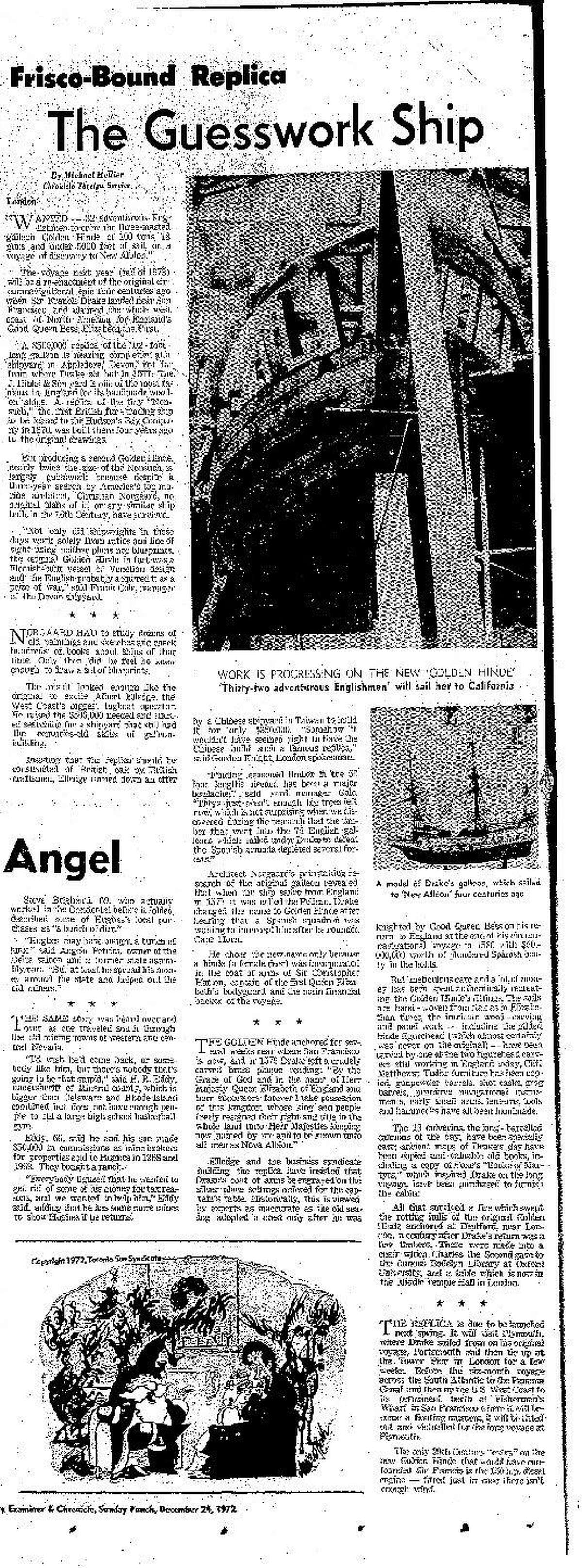 The December 12, 1972 Chronicle Sunday Punch as the Golden Hinde II prepares to set sail for San Francisco Bay