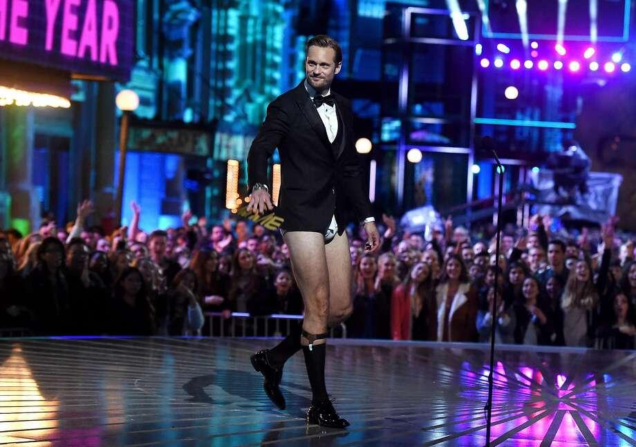 Actor Alexander Skarsgard walks onstage during the 2016 MTV Movie Awards at Warner Bros. Photo: Kevin Winter, Getty Images For MTV