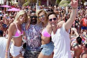 CANCUN, MEXICO - MARCH 15:  Devon Windsor, DJ Irie, Rachel Hilbert and Diego Boneta attend  Victoria's Secret PINK Nation Spring Break Beach Party in Cancun, Mexico on March 15, 2016 in Cancun, Mexico.