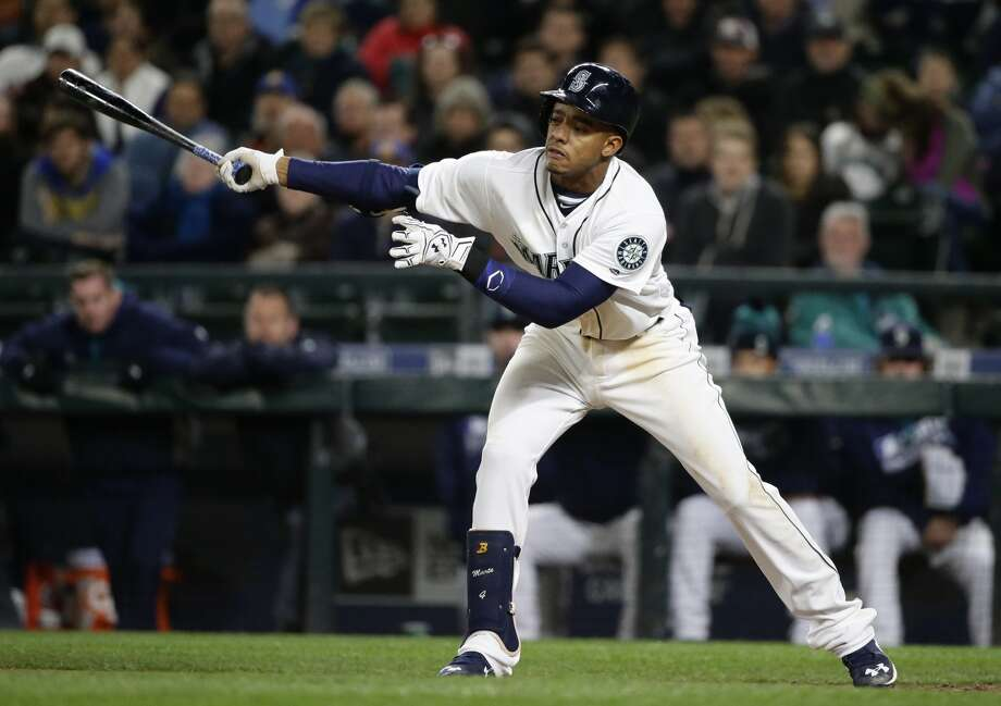 Seattle Mariners' Ketel Marte strikes out swinging in the seventh inning of a baseball game against the Texas Rangers, Monday, April 11, 2016, in Seattle. (AP Photo/Ted S. Warren)