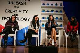 Tiffany Reardon, Jess Lee of Polyvore, designer Rebecca Minkoff, and Intel executive Renee Wittemyer laugh during a panel discussion regarding the career opportunities for female entrepreneurs, at the Unleash Your Creativity with Technology tour, at UC Berkeley, in Berkeley, California, on Monday, April 11, 2016.