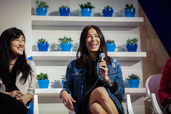 Designer Rebecca Minkoff laughs during a panel discussion regarding the career opportunities for female entrepreneurs, at the Unleash Your Creativity with Technology tour, at UC Berkeley, in Berkeley, California, on Monday, April 11, 2016.