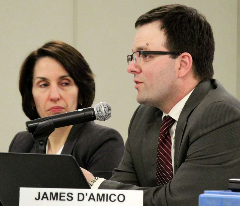James D'Amico, the school distirct's director of secondary education who takes over the job as Staples High School principal later this spring, discusses the impact of students' social media use at Monday's Board of Education meeting. Photo: Westport News / Chris Marquette / Westport News