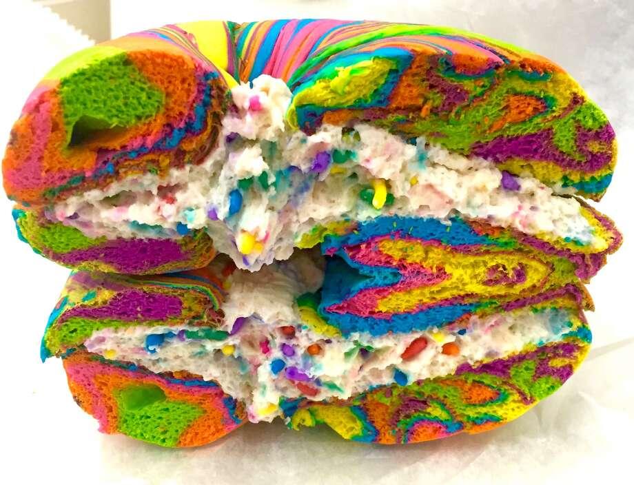 A rainbow bagel from The Bagel Store in Brooklyn, NY. Photo: Jacki Maynard