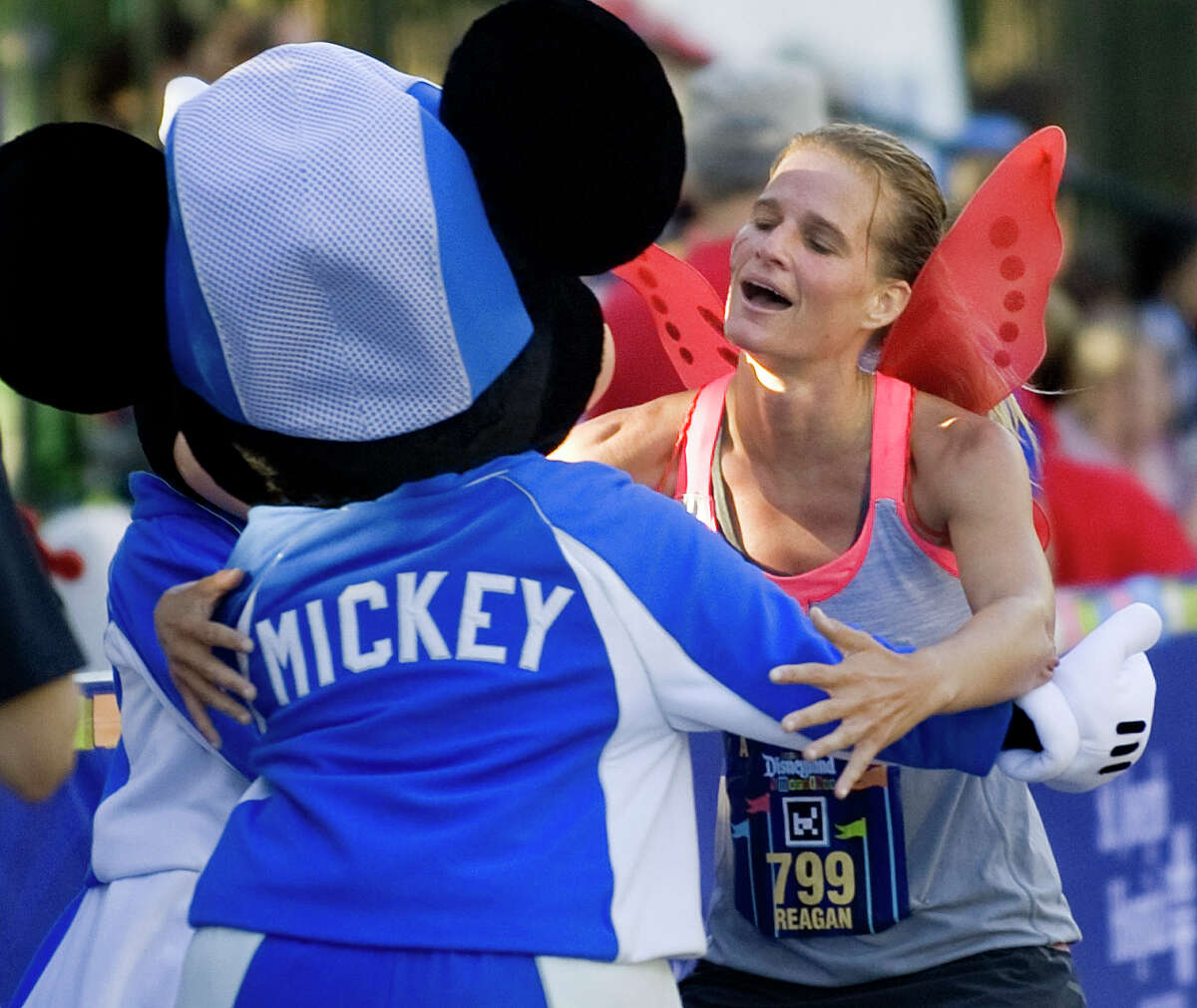 Reagan Anders finishes the 2012 Disney Half Marathon Sept. 2, 2012. The 13.1-mile race started at Disneyland Park, winded into Disney California Adventure, and through the streets of Anaheim, before finishing at the Disneyland Hotel.More than 17,000 runners competed.