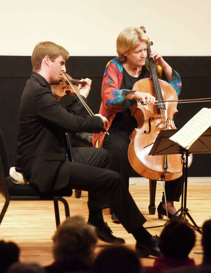 Violinist David McCarroll and cellist Marcy Rosen from Musicians from Marlboro perform this past January at the Cole Auditorium. The group will return for a May 1 performance. Photo: Tyler Sizemore / Hearst Connecticut Media / Greenwich Time