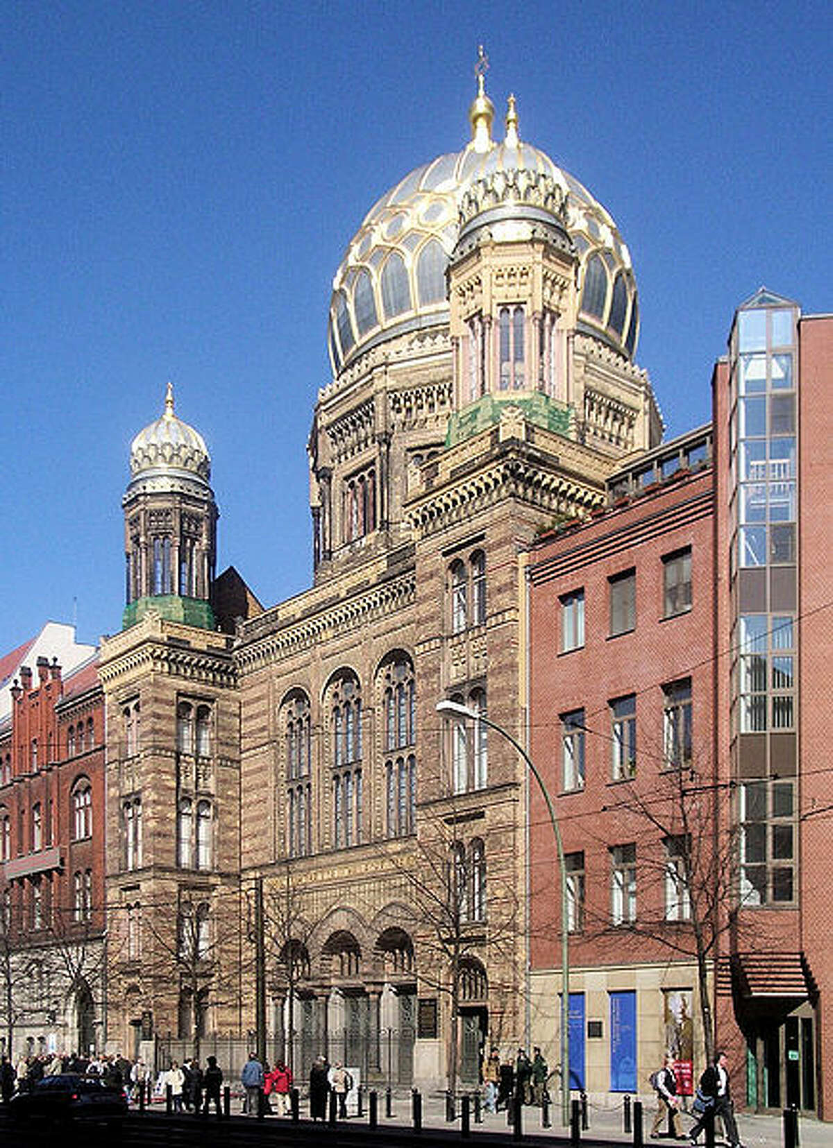The 19th century New Synagogue with the Moorish-style dome is a Berlin landmark where religious services are occasionally conducted. Rebuilt after being damaged in 1938 by widespread Nazi attacks on Jews during what is known as Kristallnacht and again by Allied bombers in World War II, today it mainly serves as a museum with offices.