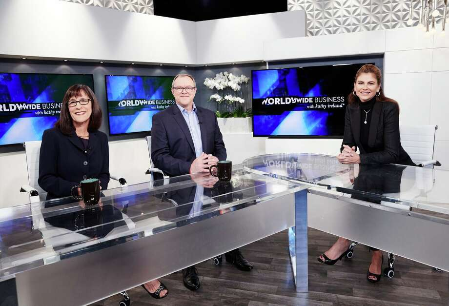 Sheila Bennett, left, with Neville Pritchard of People in Flow, center, and host Kathy Ireland. Photo: / Worldwide Business With Kathy Ireland®