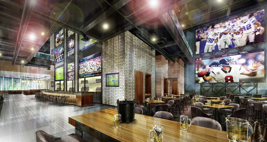 A rendering of a sports bar planned for the Marriott Marquis Houston, a new downtown hotel opening November 2016. The hotel also will feature a two-level sports bar, Biggio's, a partnership with former Houston Astros All-Star Craig Biggio. Photo: Marriott Marquis Houston