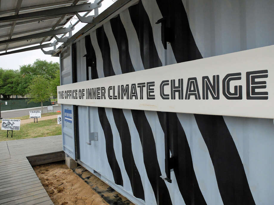 "At Rice University, ""Dear Climate,"" Marina Zurkow's installation for FotoFest, is partially housed in a solar-powered ""pod."" (For more photos from the Rice site, scroll through the gallery.) Photo: Molly Glentzer, Houston Chronicle"
