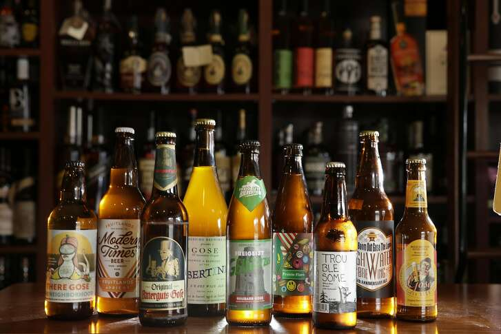 A variety of different kinds of Gose beer are seen at Healthy Spirits on Clement Street on Monday, April 11, 2016 in San Francisco, California.