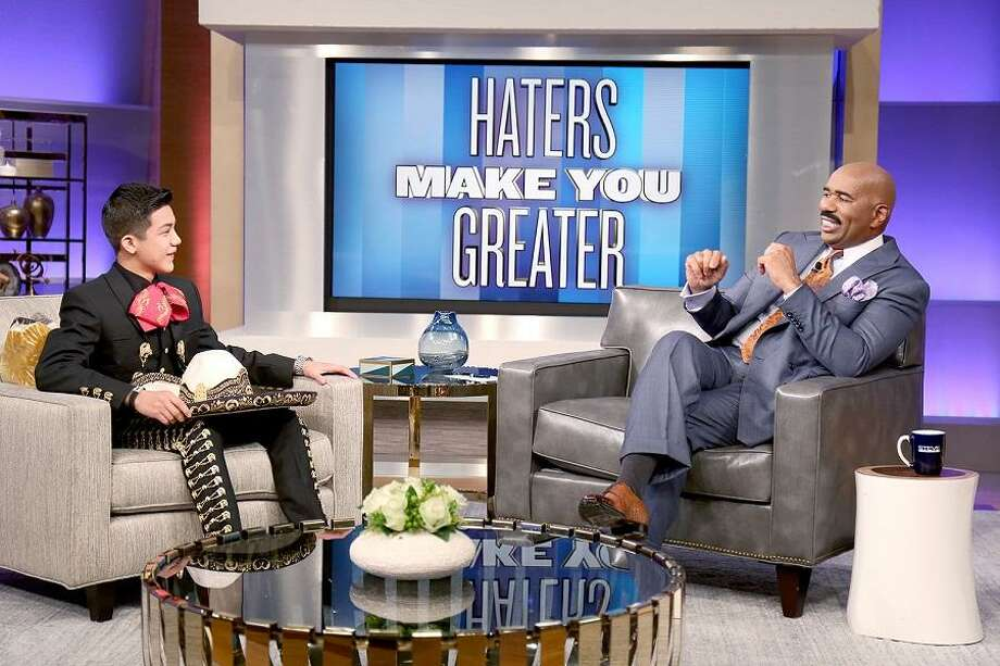 San Antonio's Sebastien De La Cruz chats and sings on Steve Harvey's national TV show.(Tegan Kinane/NBC).