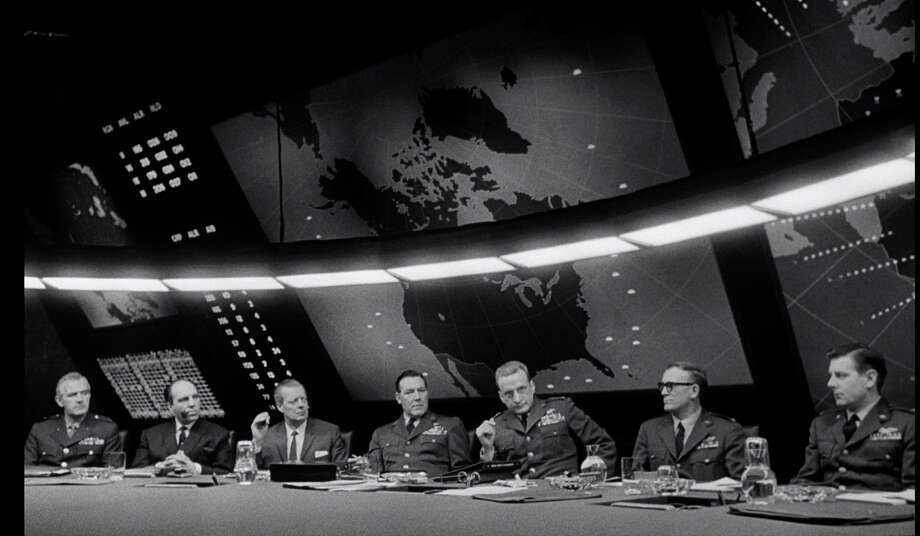 "The War Room in Stanley Kubrick's ""Dr. Strangelove"" (1964), a set designed by Ken Adam."
