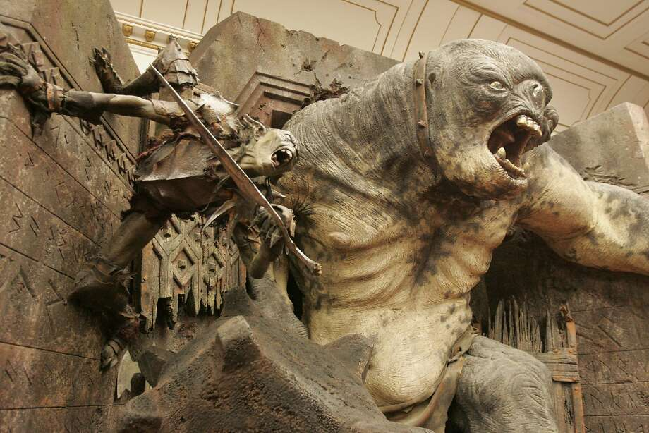 """A large statue of a Cave Troll is part of the """"Lord of the Rings Exhibit"""" at the Museum of Natural Science in Hermann Park. Photo: Steve Campbell, Houston Chronicle"""