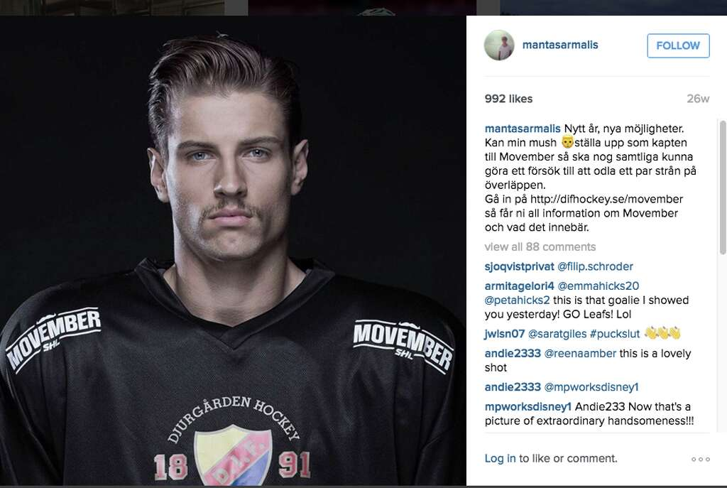 The San Jose Sharks signed goalie Mantas Armalis to an entry-level contract on Monday. And, then the Internet went crazy over the part-time model. Photo: Instagram