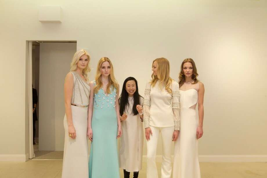Designer Grace Kang, center, with the models at her latest show. Photo: / Olivine Gabbro