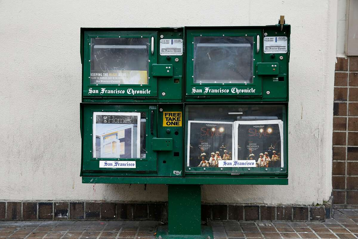 A news rack near the corner of Fifth and Mission streets in San Francisco, California, on Tuesday, April 12, 2016.