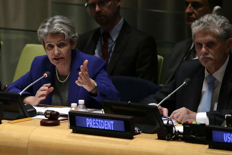 UNESCO Director-General Irina Bokova and General Assembly President Mogens Lykketoft take part in the historic hearings. Photo: KENA BETANCUR, AFP/Getty Images