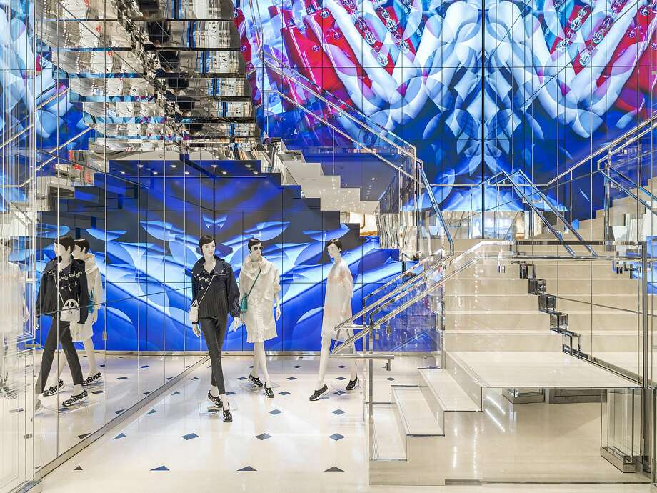 Dior's recently opened flagship women's store at 185 Post St., S.F., top. The multilevel store contains handbags, jewelry and other accessories on the first level, center. Photo: Courtesy Of Dior, Kristen Pelou