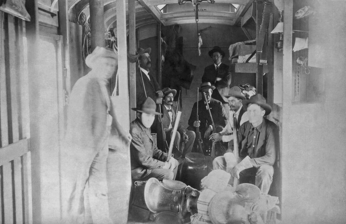 1898: The special car of the Union Pacific Railroad for the mounted rangers organized by UP Special Agent Timothy Keliher to stop the Wild Bunch Gang led by Butch Cassidy and the Sundance Kid, late 1890s. (Photo by Underwood Archives/Getty Images)