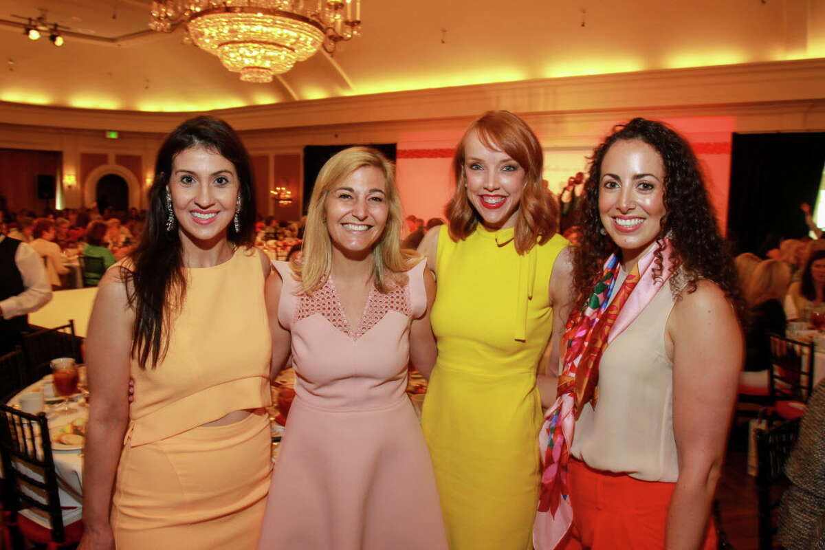 Carolyn Mohsenzadeh, from left, Rachel Conkling, Leah Rausch and Stephanie Sallee at the annual Chic Boutique and runway fashion show luncheon benefiting the Salvation Army. (For the Chronicle/Gary Fountain, April 12, 2016)
