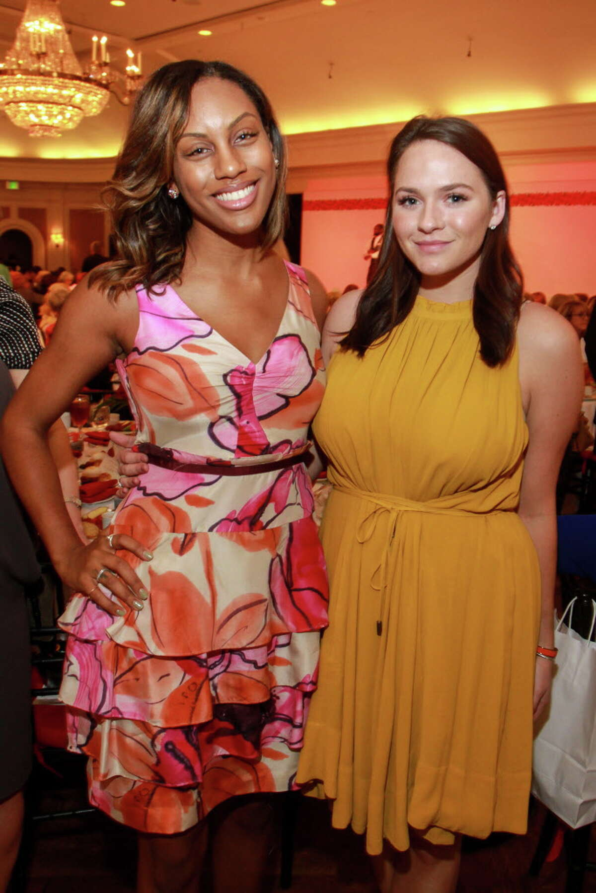 Kara Smith, left, and Hannah Swiggard at the annual Chic Boutique and runway fashion show luncheon benefiting the Salvation Army. (For the Chronicle/Gary Fountain, April 12, 2016)