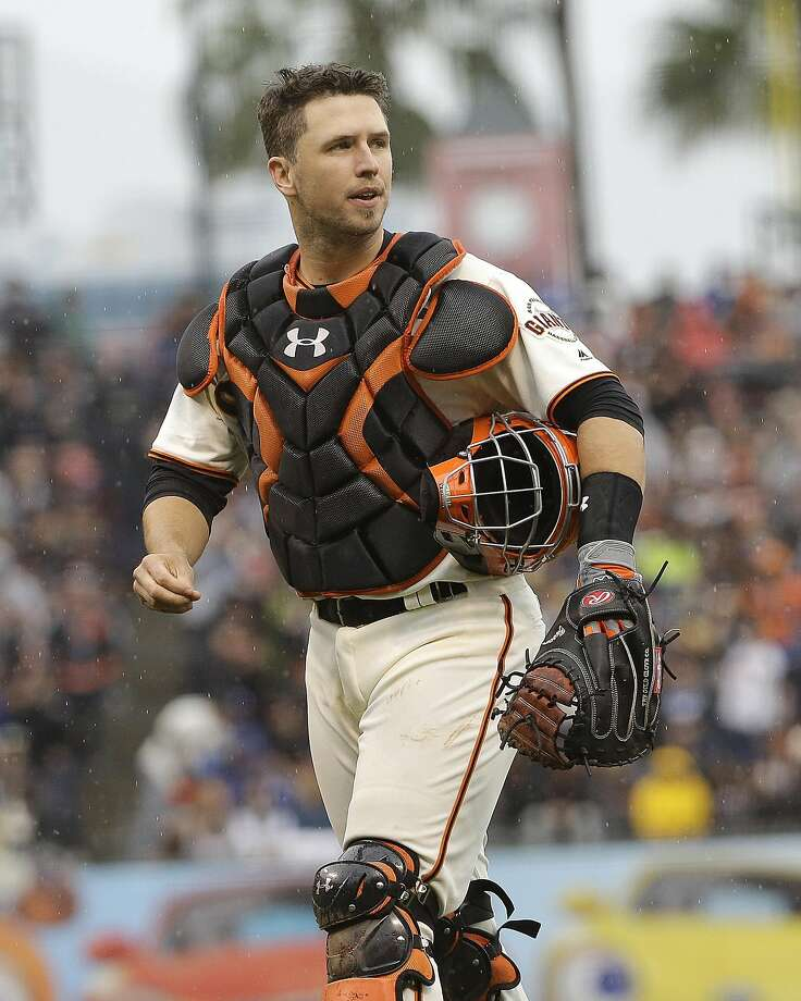 San Francisco Giants catcher Buster Posey against the Los Angeles Dodgers during a baseball game in San Francisco, Saturday, April 9, 2016. (AP Photo/Jeff Chiu) Photo: Jeff Chiu, AP