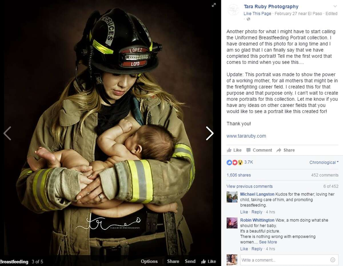 El Paso-based Tara Ruby Photography shot this photo of a New Mexico mother breastfeeding in her husband's firefighter uniform. It has since gone viral.