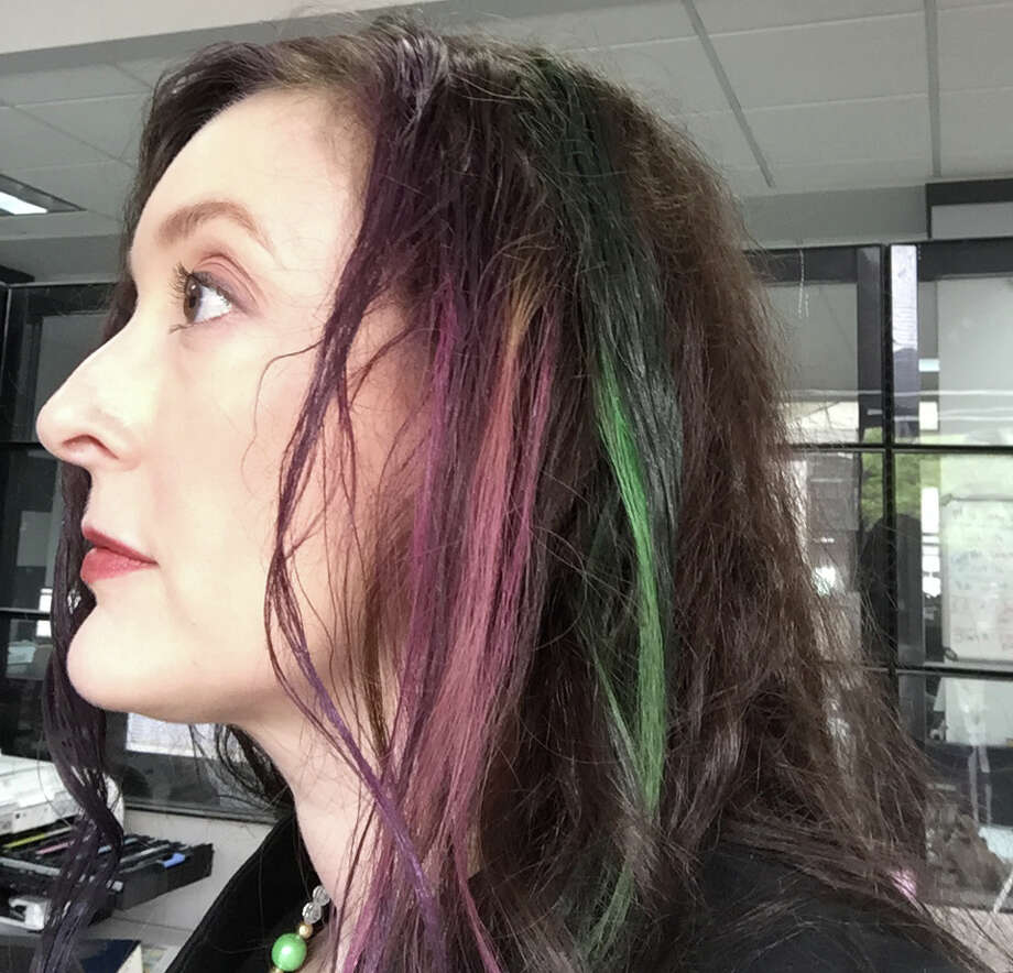 Colored hair for Fiesta with hair chalk. Not such great results. Photo: Emily Spicer /San Antonio Express-News