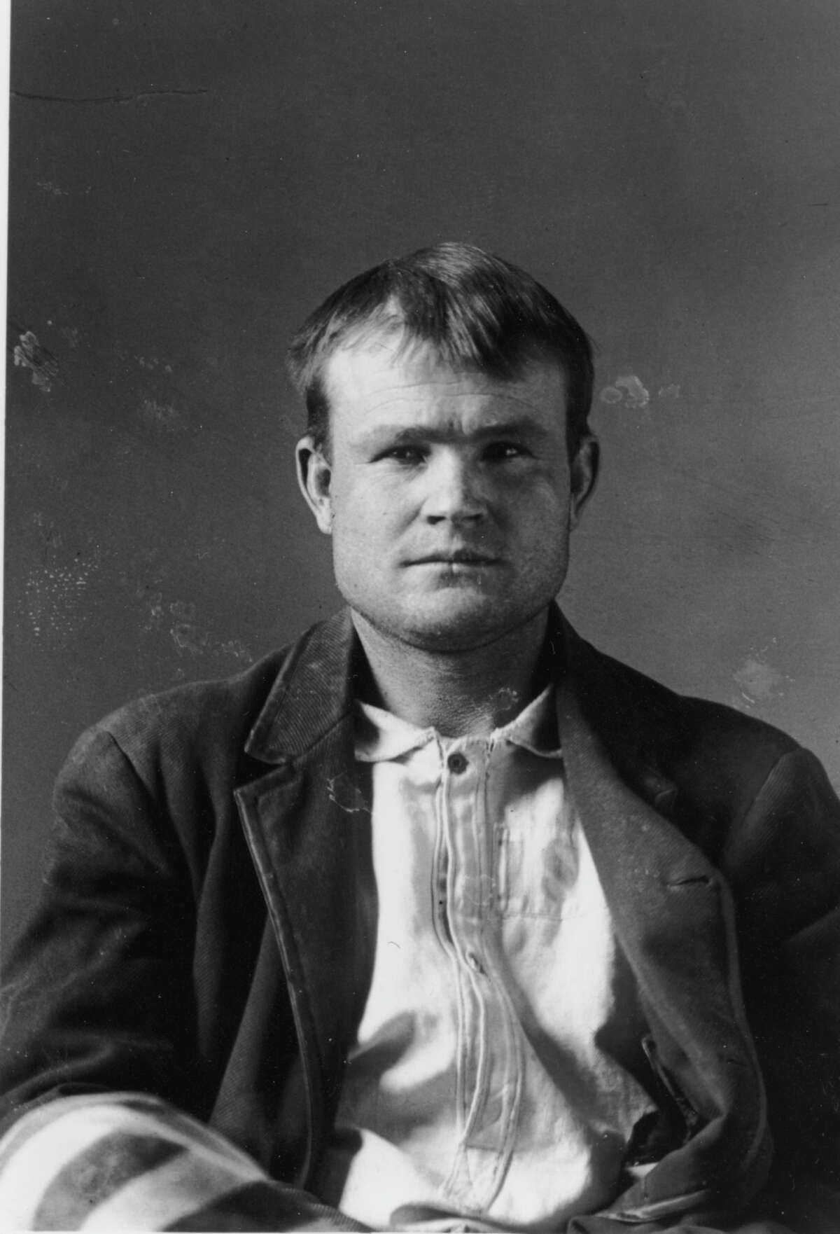 1894: Sometime in his late 20s, Butch Cassidy ran afoul of the law in the state of Wyoming. Law enforcement officials accused Cassidy of stealing horses and racketeering in the area. He was arrested, charged and sentenced to 2-years in prison at the Wyoming State Prison in Laramie where this portrait was created. He was released 18 months into his sentence thanks to then Governor William Alford Richards.