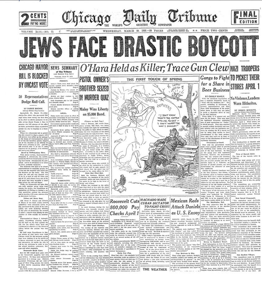 The March 29, 1933, front page of the Chicago Daily Tribune was sent to United States Holocaust Memorial Museum as part of the History Unfolded project. Photo: United States Holocaust Memorial Museum / United States Holocaust Memorial Museum