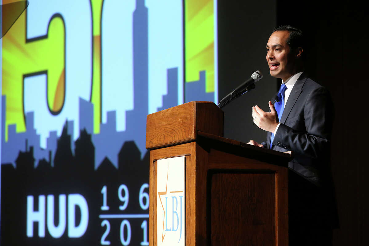 HUD Secretary Julian Castro speaks at the LBJ School of Public Affairs at the University of Texas commemorating the 50th anniversary of his organization on September 9, 2015.