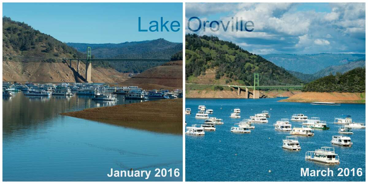 Lake Oroville Left:Shot at Lake Oroville's concrete launch ramp at Bidwell Canyon, looking at the Bidwell Bar Bridge, with the lake's capacity currently at 39 percent, or 60 percent of historical average, on January 25, 2016 (Kelly M. Grow). Right: Bidwell Canyon Marina offers a view of boats and Bidwell Bar Bridge at Lake Oroville located in Calf, March 14, 2016. On this date, the water storage was 2,599,743 acre feet, 73% of total capacity, and 101% of historical average. Lake Oroville is a reservoir formed by the Oroville Dam impounding the Feather River, located in Butte County, Northern California (Florence Low).