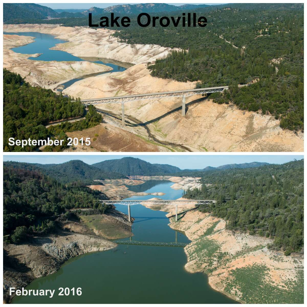 Lake Oroville Top: The west view of Lumpkin Rd. crossing over a bridge at Lake Oroville in Oroville, Calif. on September 8, 2015. On this day, the water storage was 1,057,971 acre feet, 30% of total capacity, and 46% of historical average for this date. Lake Oroville is a reservoir formed by the Oroville Dam impounding the Feather River, located in Butte County, northern California. (Florence Low) Bottom: The west view of Lumpkin Road crossing over a bridge at Lake Oroville in Oroville, Calif. on February 25, 2016. On this day, the water storage was 1,828,048 acre feet, 52% of total capacity, and 75% of historical average for this date. Lake Oroville is a reservoir formed by the Oroville Dam impounding the Feather River, located in Butte County, northern California.
