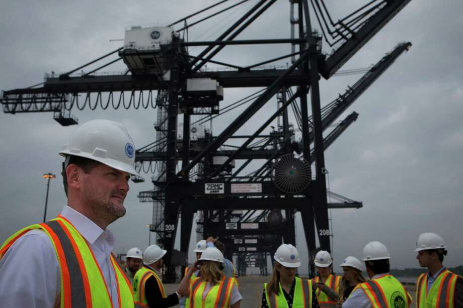 State Sen. Brandon Creighton gets a close look Tuesday at the Port of Houston Authority's Bayport container terminal.  Photo: Marie D. De Jesus, Staff / © 2016 Houston Chronicle