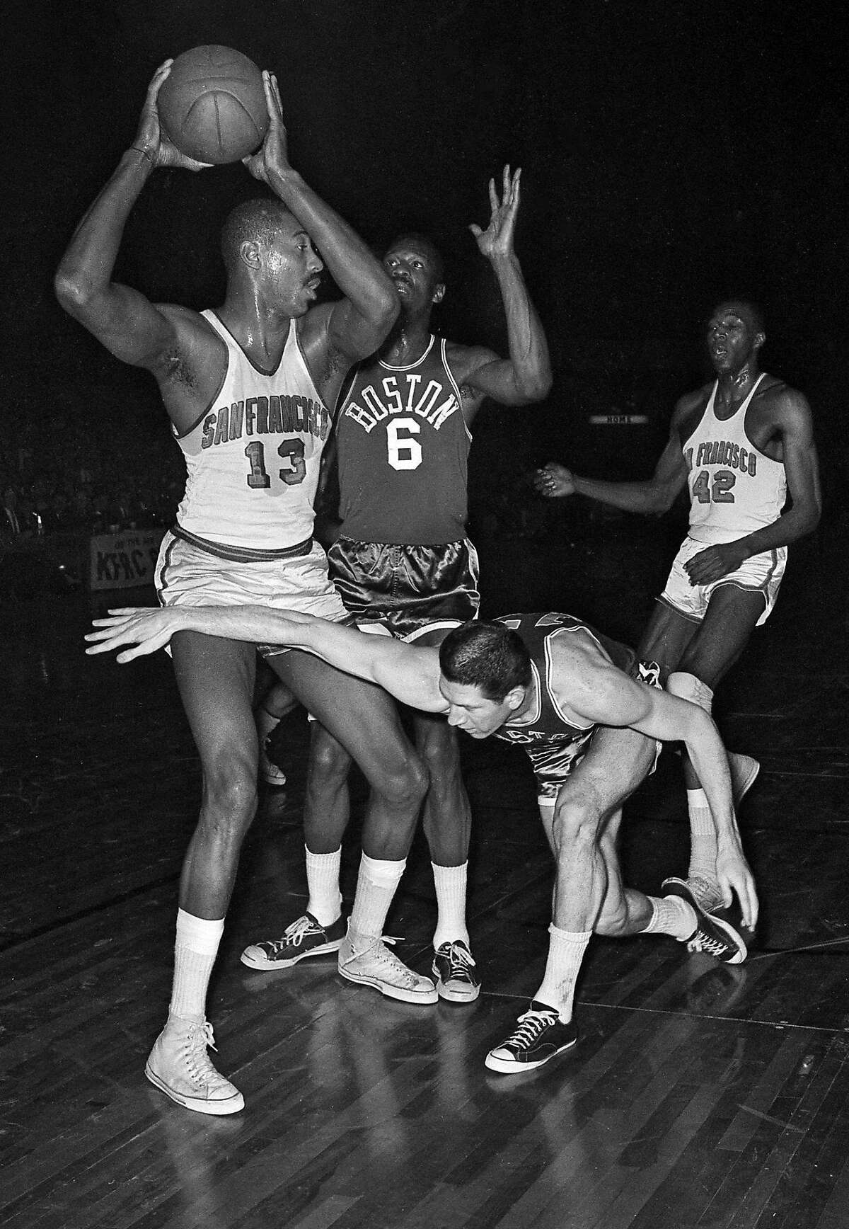 Western Conference finals, Game 7, 1964: With Wilt Chamberlain, Guy Rodgers, Tom Meschery and Al Attles scoring in double figures (39 for Wilt), the San Francisco Warriors beat the Bob Pettit-Cliff Hagan St. Louis Hawks 105-95 to reach the Finals, where they lost to Boston in five games.