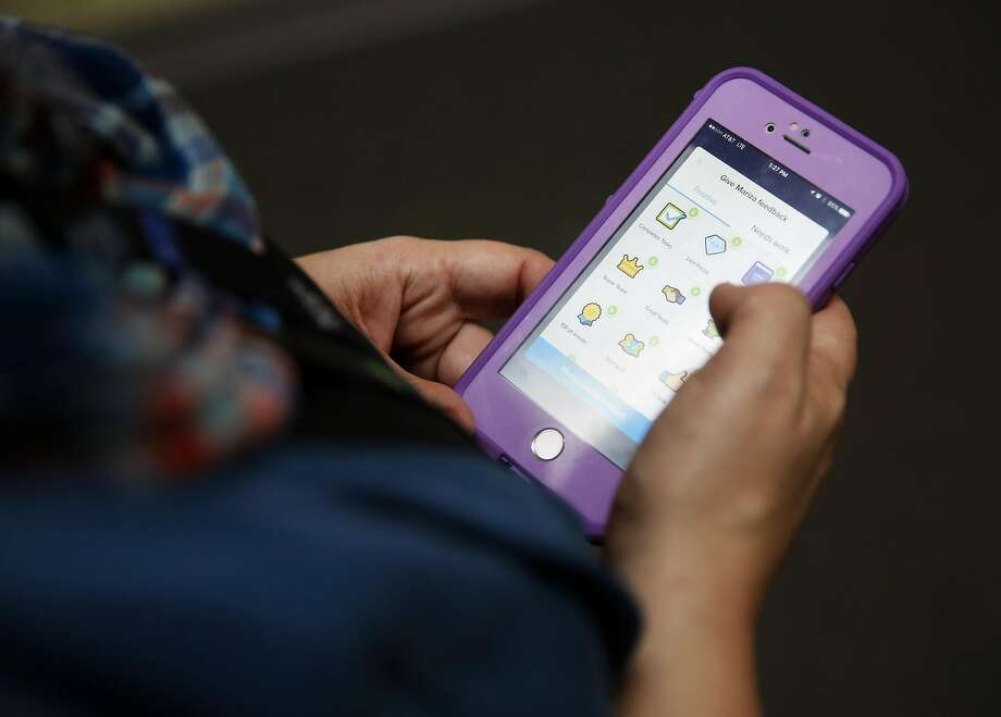 Ellison's phone at Phillips Elemen tary School in Napa has the app. Photo: Connor Radnovich, The Chronicle
