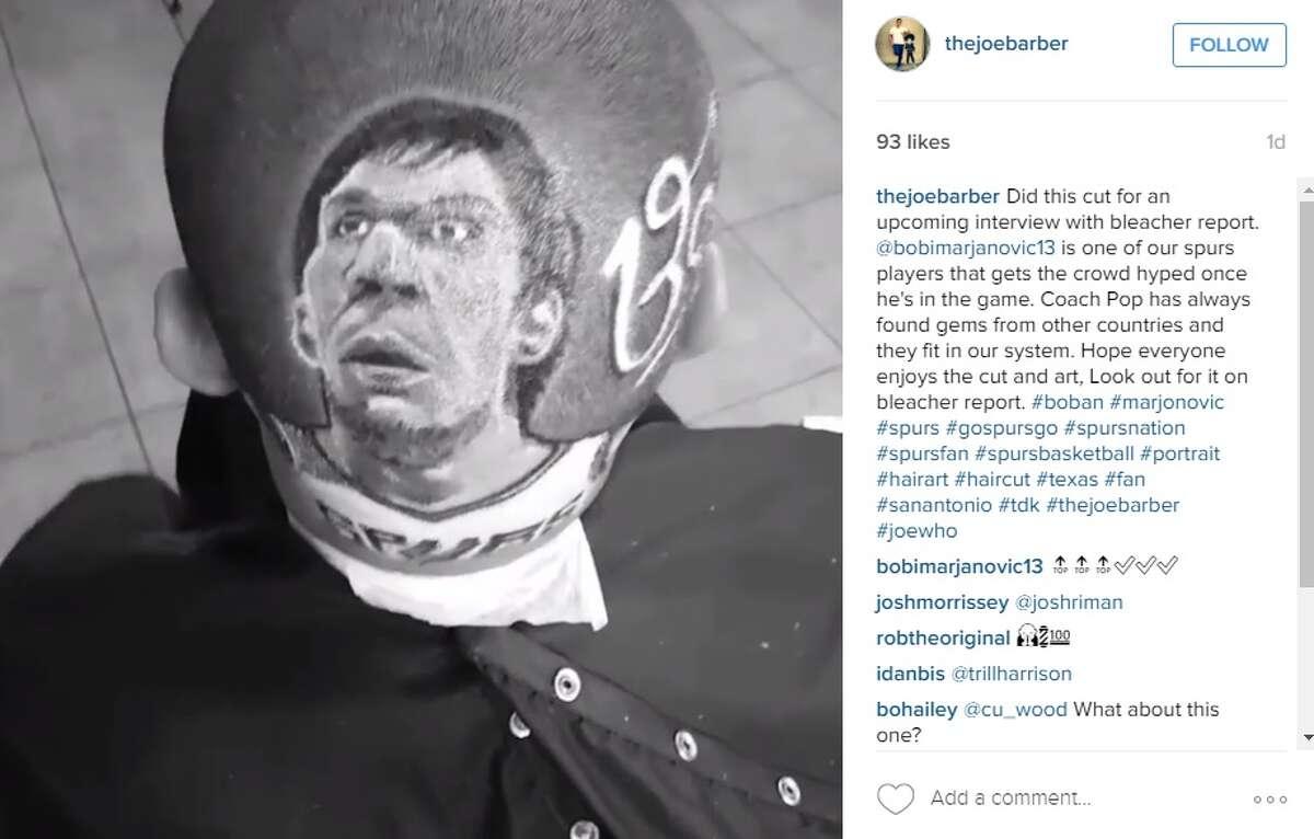 San Antonio barber, Joe Barajas, completed this portrait design of Boban Marjanovic.