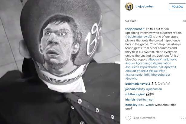 San Antonio barber, Joe Barajas, completed this portrait design of Boban Marjanovic.