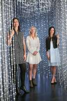 Associate director Justine Chausson (left), Pace Palo Alto president Elizabeth Sullivan (middle), and director of communication Courtney Kass (right) show the Pace Art and Technology gallery  in Menlo Park, California on monday, april 11, 2016.  The current exhibit is 12 digital art works by a Japanese collective called Team Lab.