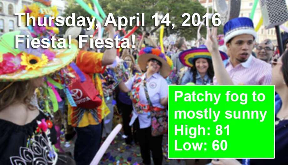 San Antonio's weather outlook for the first weekend of Fiesta, according to the National Weather Service. For an updated forecast visit forecast.weather.gov. Photo: San Antonio Express-News