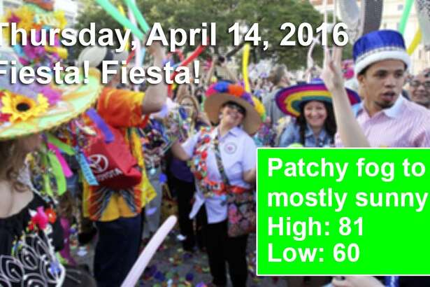 San Antonio's weather outlook for the first weekend of Fiesta, according to the National Weather Service. For an updated forecast visit  forecast.weather.gov .