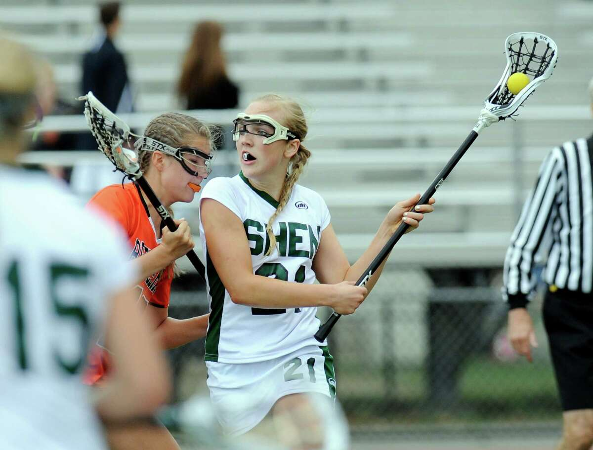 Shenendehowa's Jordy Marr (21) shoots a shot on goal against Bethlehem during their Section II Class A girls' semifinal lacrosse at game in Clifton Park, N.Y., Thursday, May 21, 2015. (Hans Pennink / Special to the Times Union) ORG XMIT: HP114