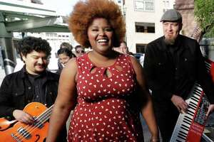 The Suffers with lead singer Kam Franklin is shown while filming a new music-based ad for the city, using a remix of their song Really Great Day, Saturday, Jan. 23, 2016, in Houston. ( Melissa Phillip / Houston Chronicle )