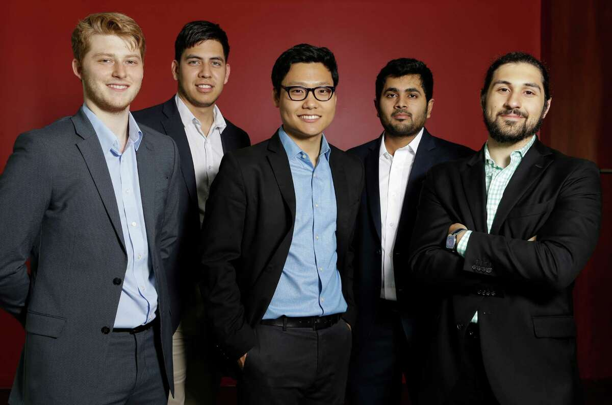 Sensytec team members Dylan Senter, left, Ody De La Paz, Kevin Cho, Anudeep Reddy and Nick Ravanbakhsh, right, pose together at the University of Houston Tuesday, April 12, 2016, in Houston. They will participate in the Rice Business Plan Competition. ( Melissa Phillip / Houston Chronicle )