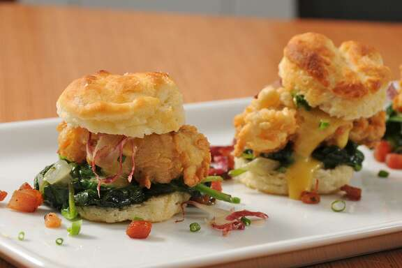 Chicken-fried oyster sliders at Bliss