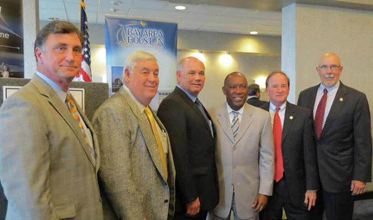 Newly-elected Houston mayor Sylvester Turner recently discussed transportation, storm surge protection and other issued facing Houston's Bay Area during a recent Bay Area Houston Economic Partnership membership meeting. From left are Seabrook Mayor Glenn Royal, Taylor Lake Village Mayor Jon Keeney, BAHEP President Bob Mitchell; Turner, Houston City Council Member Dave Martin; and Morgan's Point Mayor Michel Bechtel.
