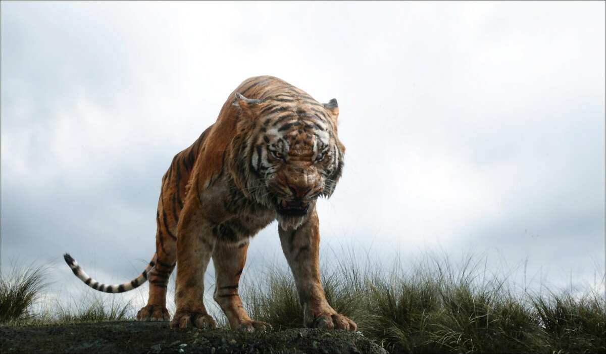 In this image released by Disney, Shere Khan the tiger, voiced by Idris Elba, appears in a scene from,