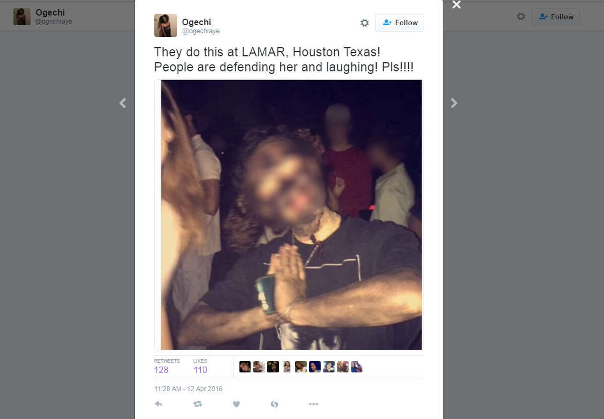 A student at Lamar High School allegedly wore blackface to an off-campus party. (Via Ogechi on Twitter)